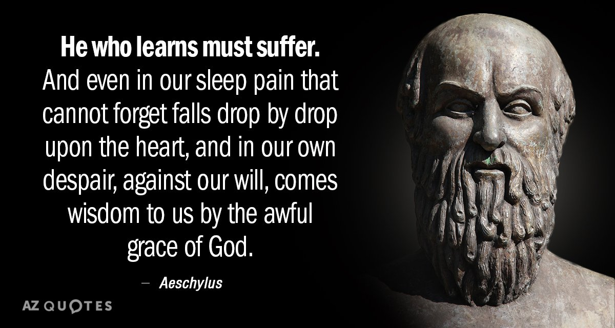 Aeschylus quote: He who learns must suffer. And even in our sleep pain that cannot forget...