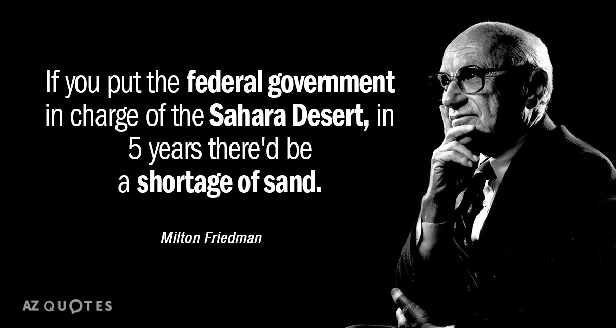 Milton Friedman quote: If you put the federal government in charge of the Sahara Desert, in...