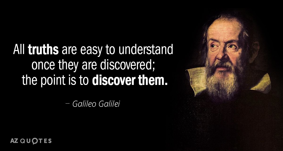 Galileo Galilei quote: All truths are easy to understand once they are discovered; the point is...