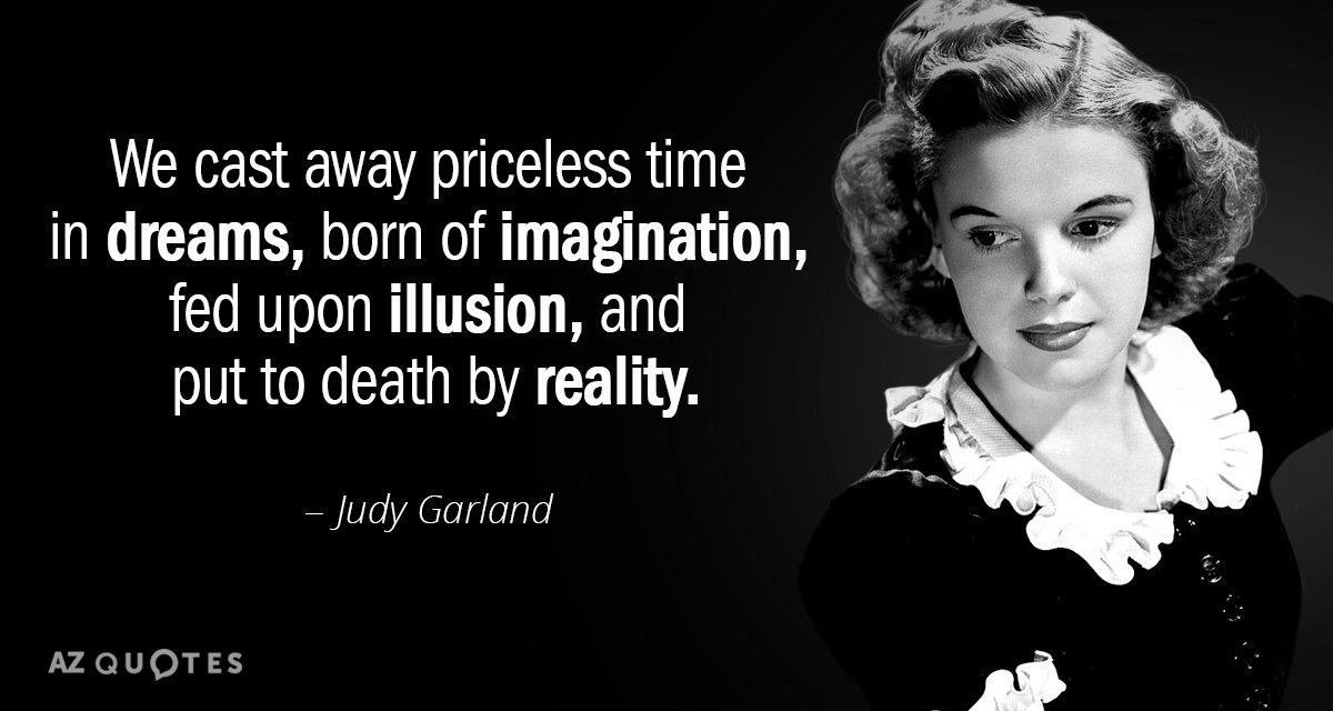 Judy Garland quote: We cast away priceless time in dreams, born of imagination, fed upon illusion...