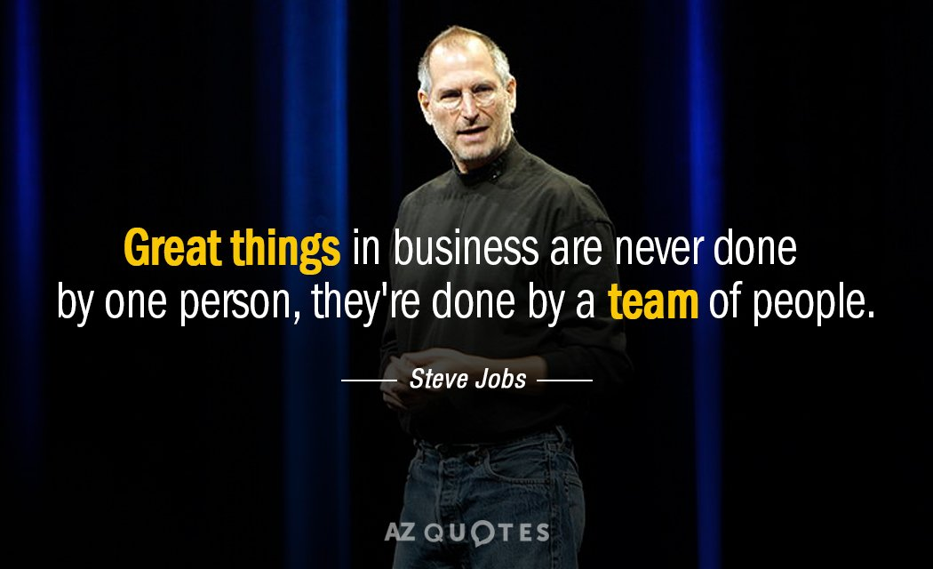 Steve Jobs quote: Great things in business are never done by one person, they're done by...