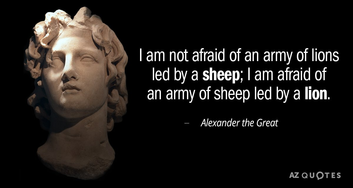 Alexander the Great quote: I am not afraid of an army of lions led by a...