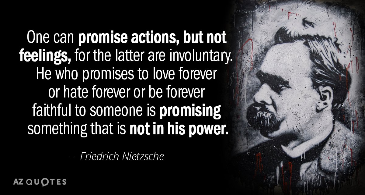 Friedrich Nietzsche Quote One Can Promise Actions But Not Feelings Stunning Love Forever Quotes