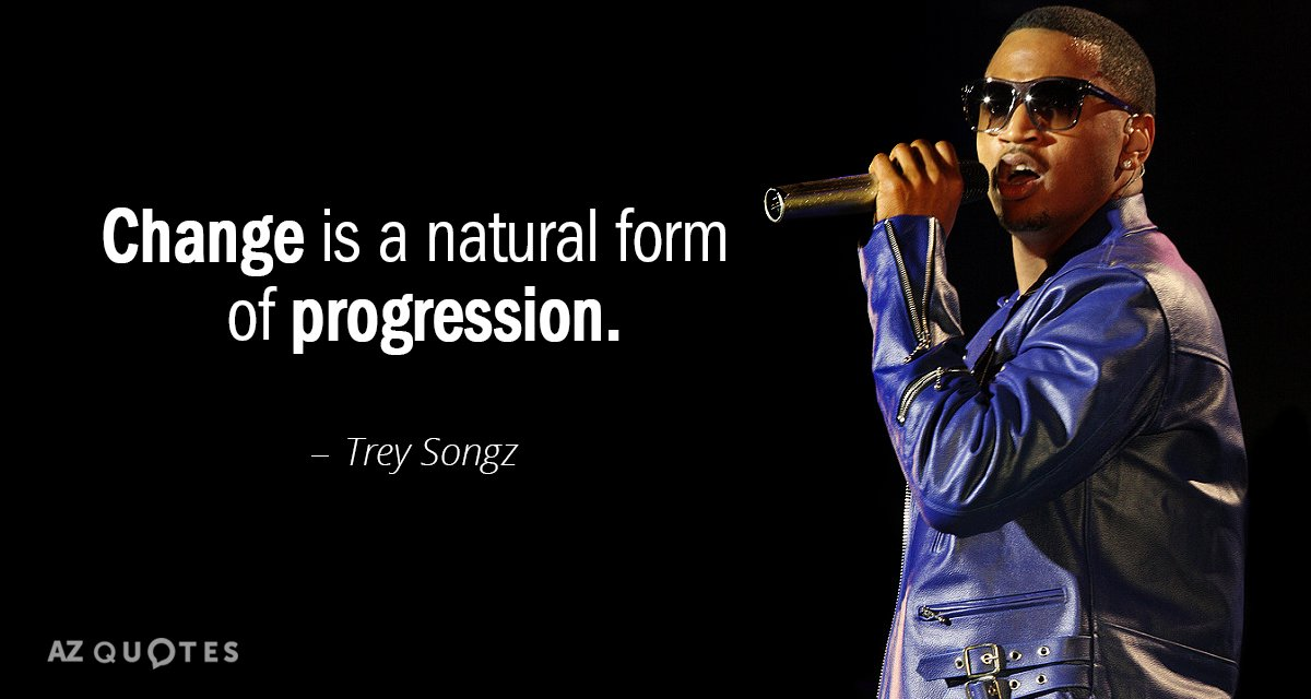 Trey Songz quote: Change is a natural form of progression.