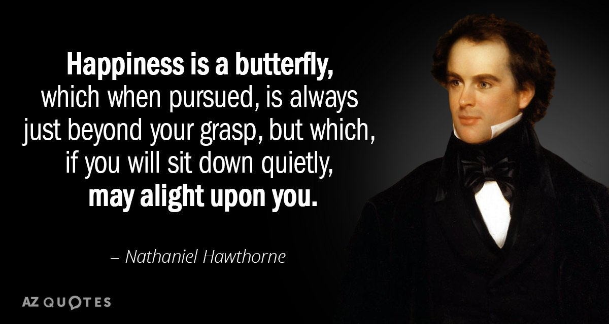 Nathaniel Hawthorne quote: Happiness is a butterfly, which when pursued, is always just beyond your grasp...
