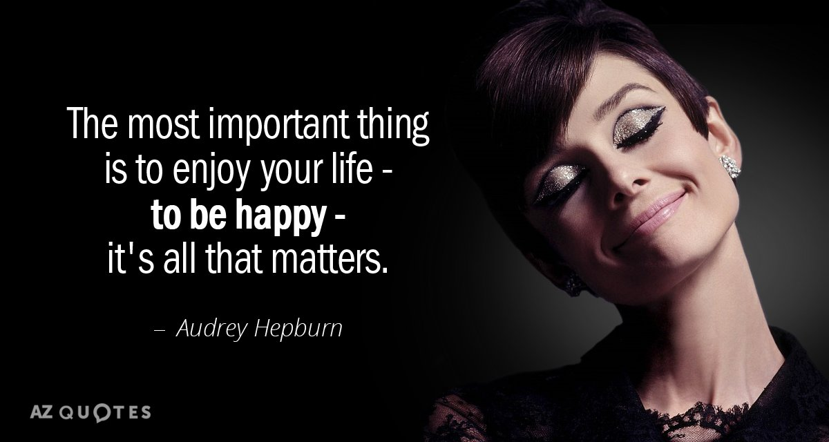 Audrey Hepburn quote: The most important thing is to enjoy your life - to be happy...