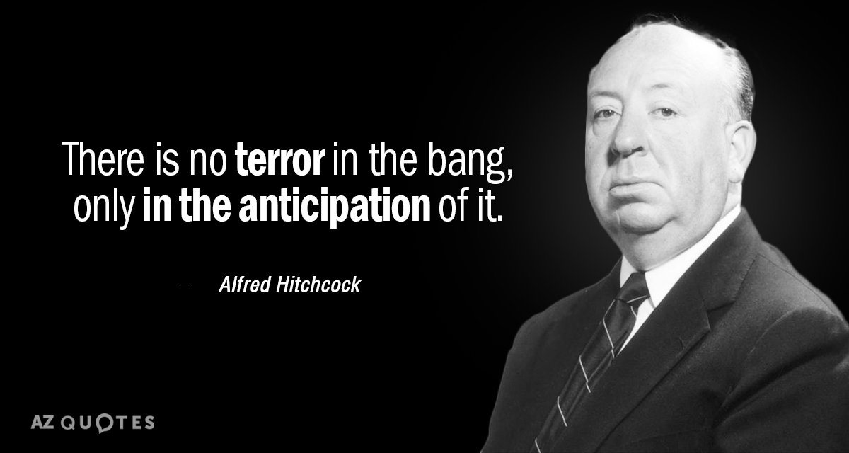 Alfred Hitchcock quote: There is no terror in the bang, only in the anticipation of it.