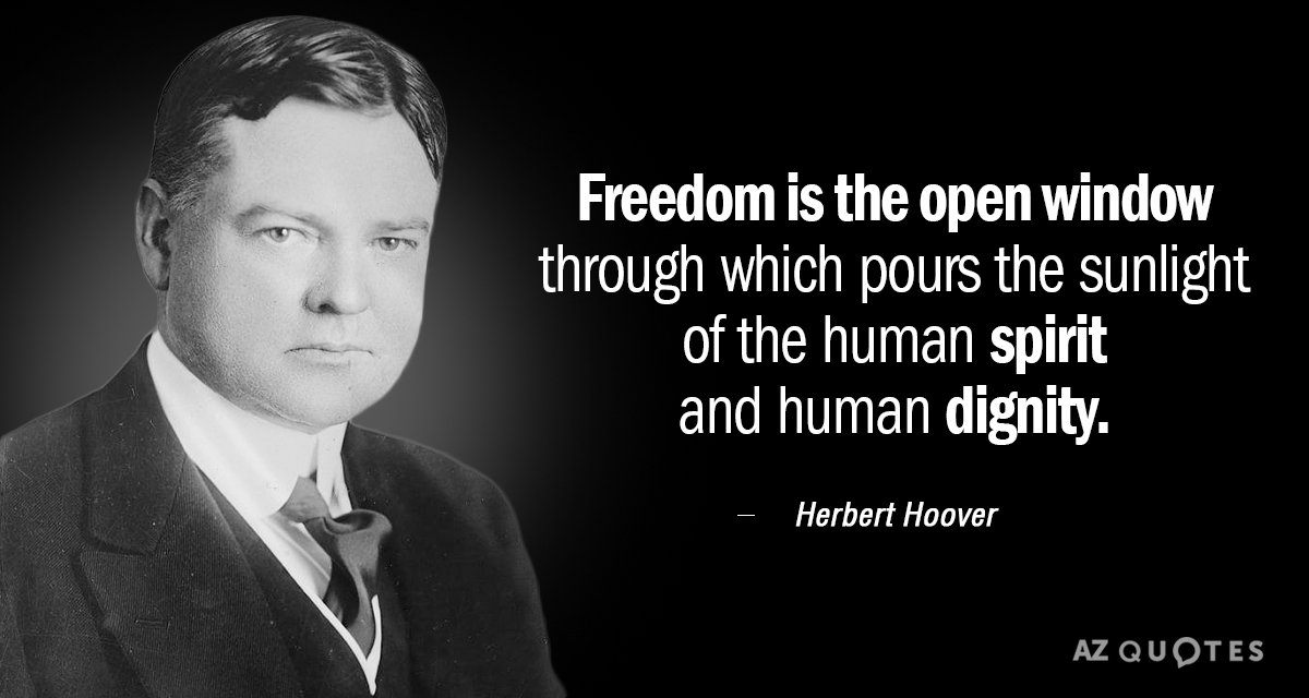 Herbert Hoover quote: Freedom is the open window through which pours the sunlight of the human...