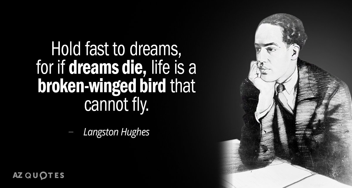 Langston Hughes quote: Hold fast to dreams, for if dreams die, life is a broken-winged bird...