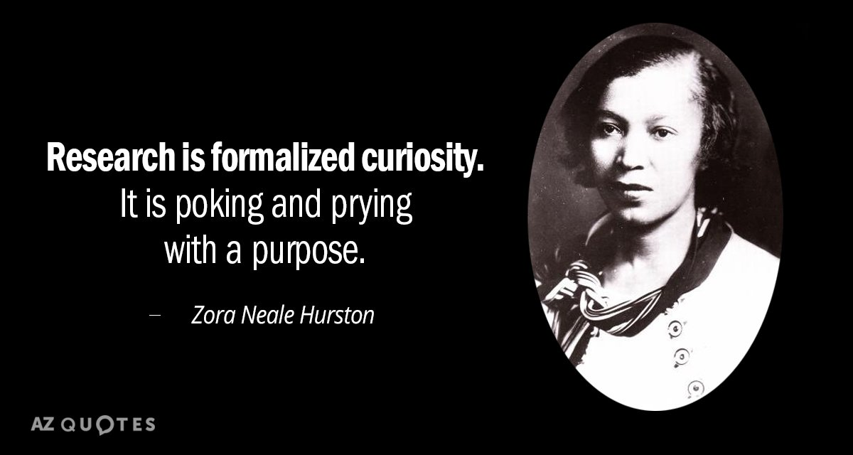Zora Neale Hurston quote: Research is formalized curiosity. It is poking and prying with a purpose.