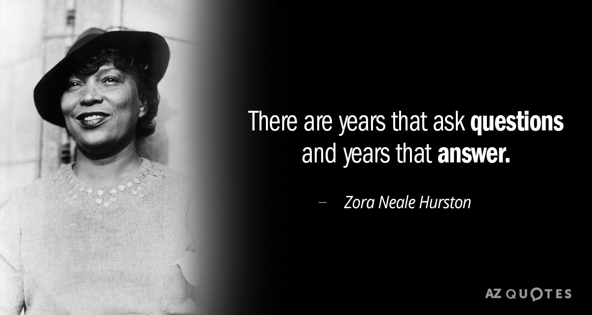 Zora Neale Hurston quote: There are years that ask questions and years that answer.