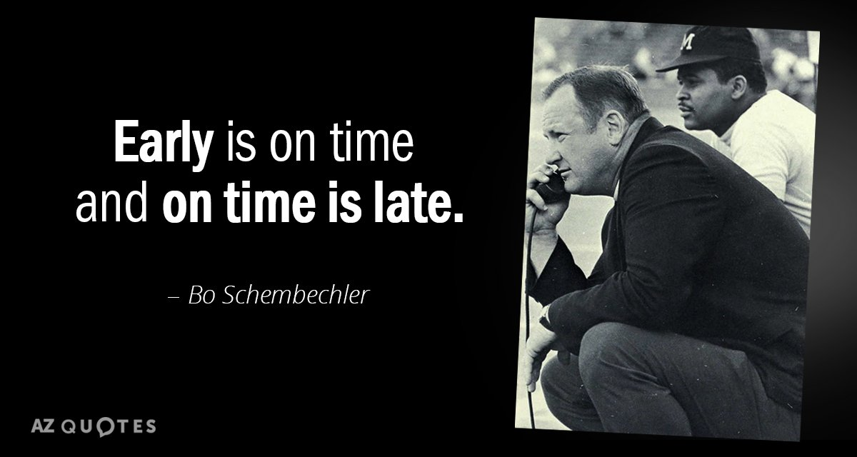 Bo Schembechler Quote Early Is On Time And On Time Is Late
