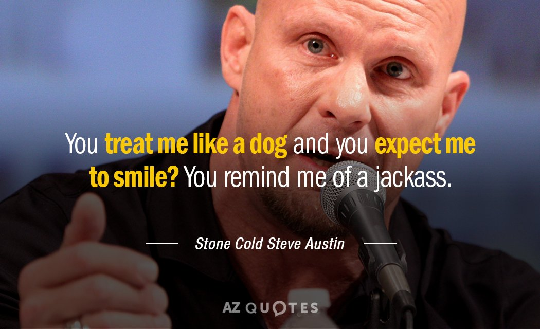 Stone Cold Steve Austin quote: You treat me like a dog and you expect me to...