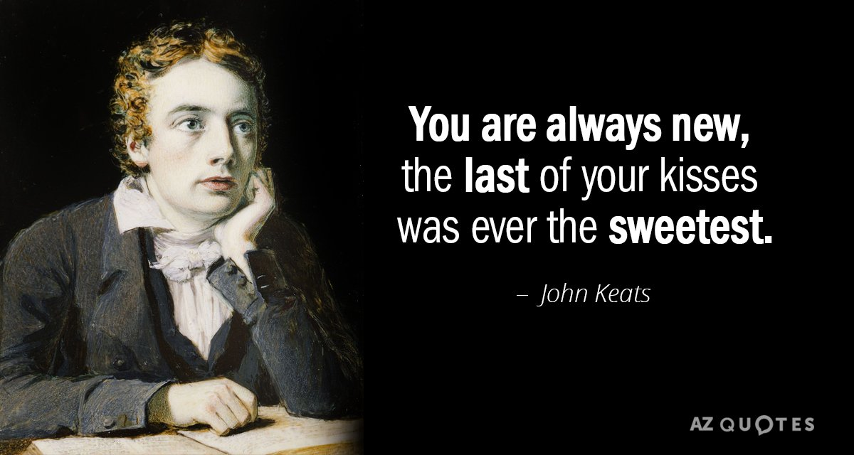 John Keats quote: You are always new, the last of your kisses was ever the sweetest.