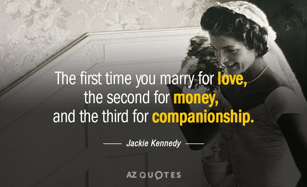 Jackie Kennedy quote: The first time you marry for love, the second for money, and the...