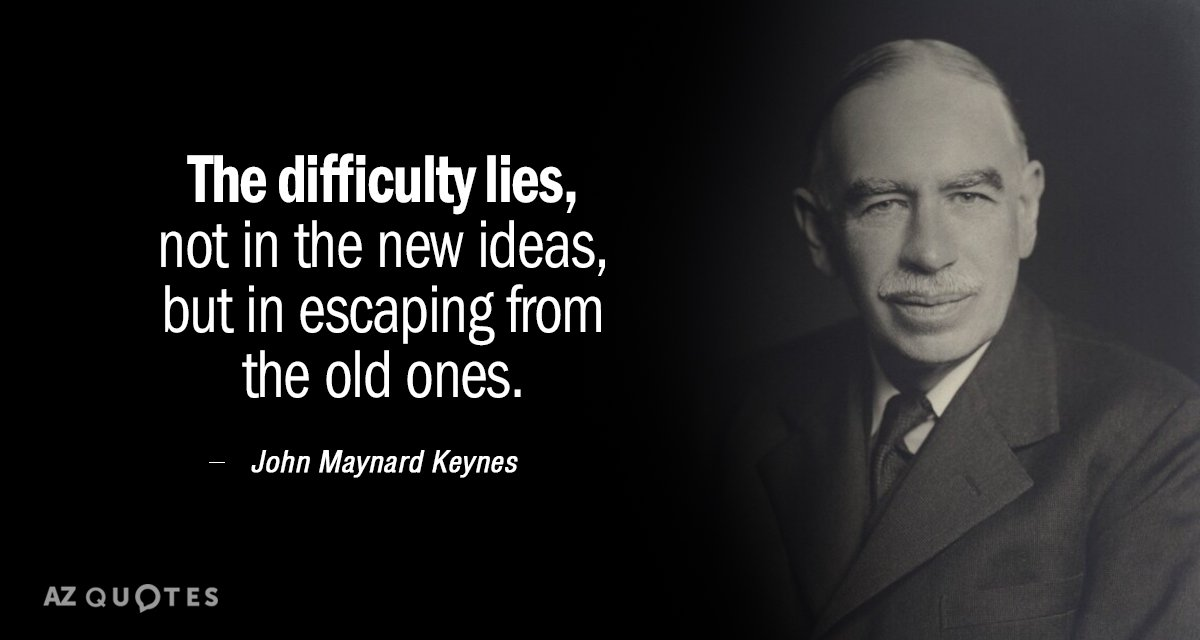 John Maynard Keynes quote: The difficulty lies, not in the new ideas, but in escaping from...
