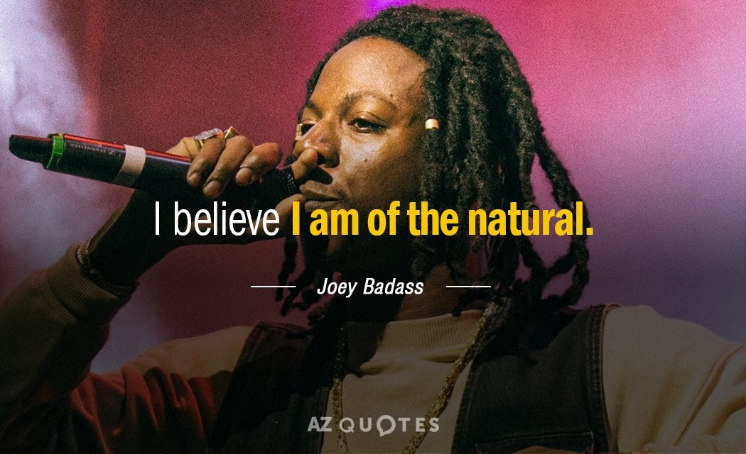 Joey Badass quote: I believe I am of the natural.
