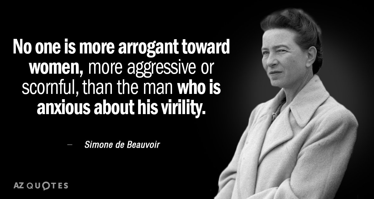 Simone de Beauvoir quote: No one is more arrogant toward women, more aggressive or scornful, than...
