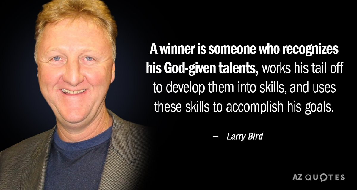 Larry Bird quote: A winner is someone who recognizes his God-given talents, works his tail off...