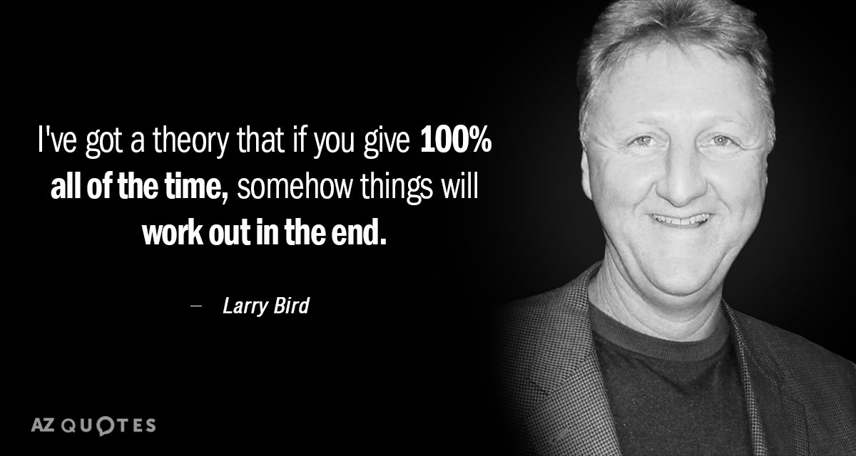 Larry Bird quote: I've got a theory that if you give 100% all of the time...