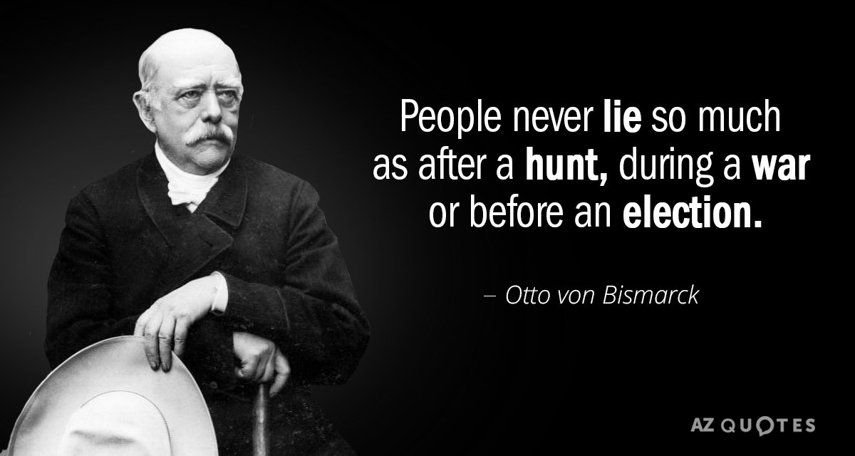 Otto von Bismarck quote: People never lie so much as after a hunt, during a war...