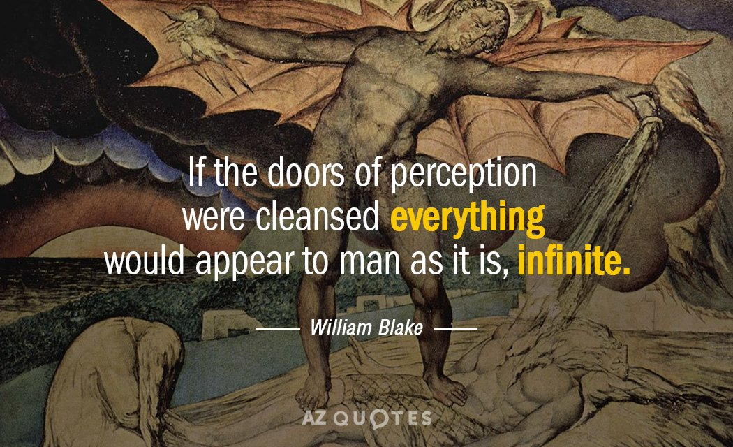 William Blake quote: If the doors of perception were cleansed everything would appear to man as...