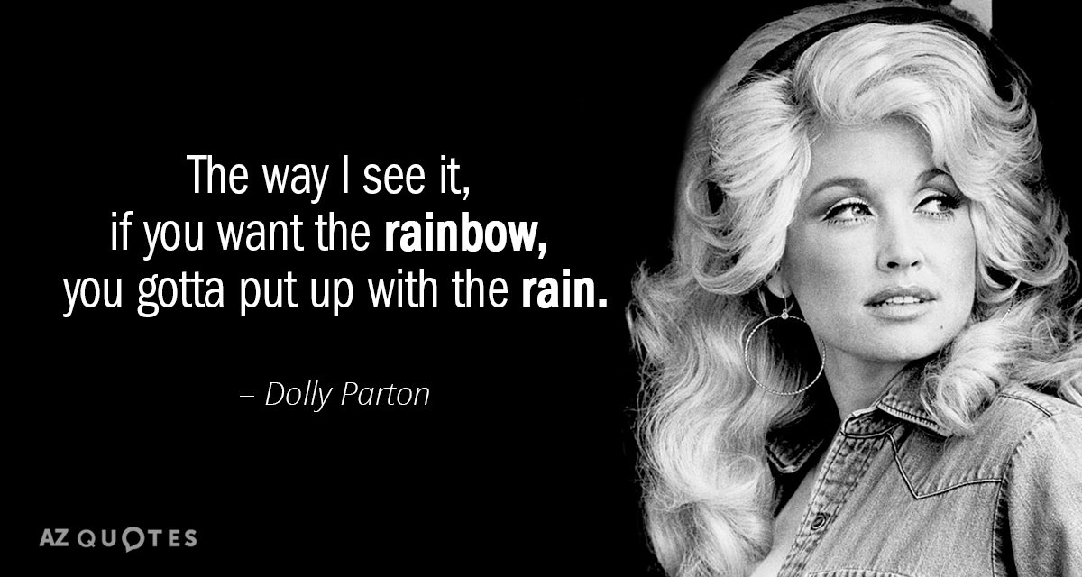 Dolly Parton quote: The way I see it, if you want the rainbow, you gotta put...