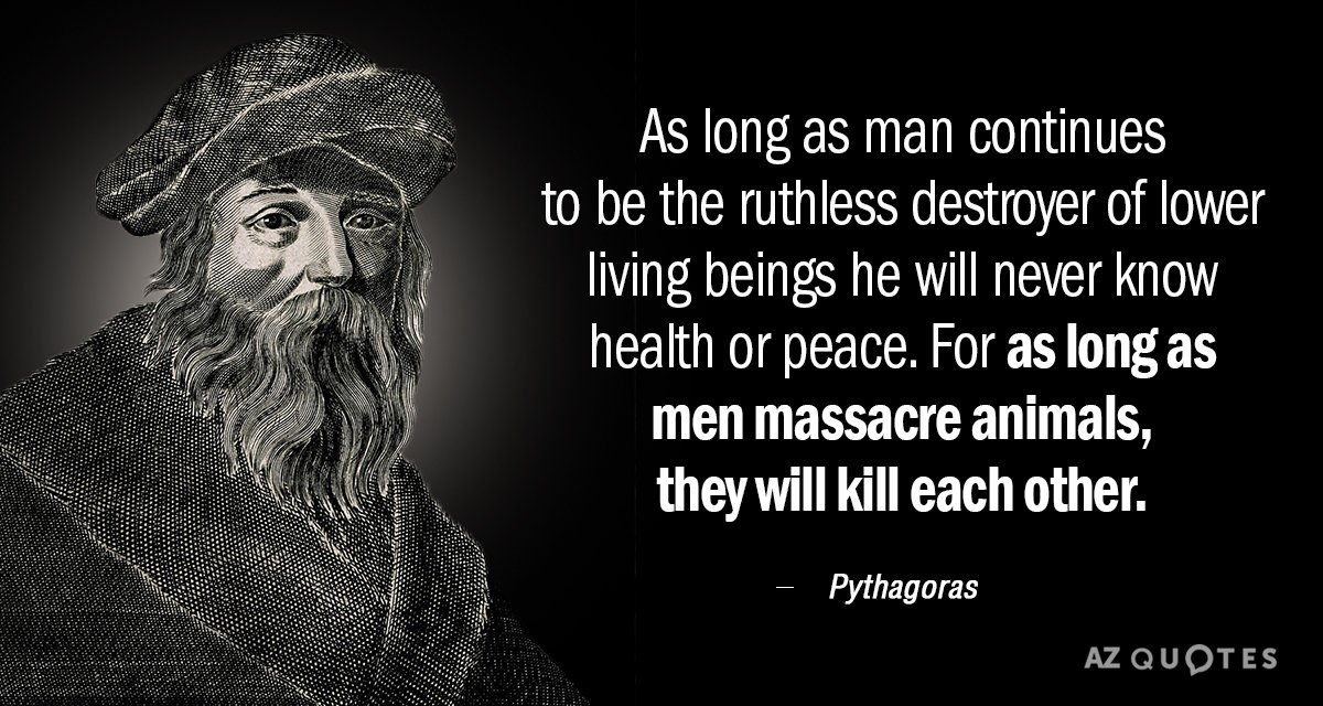Pythagoras quote: As long as man continues to be the ruthless destroyer of lower living beings...