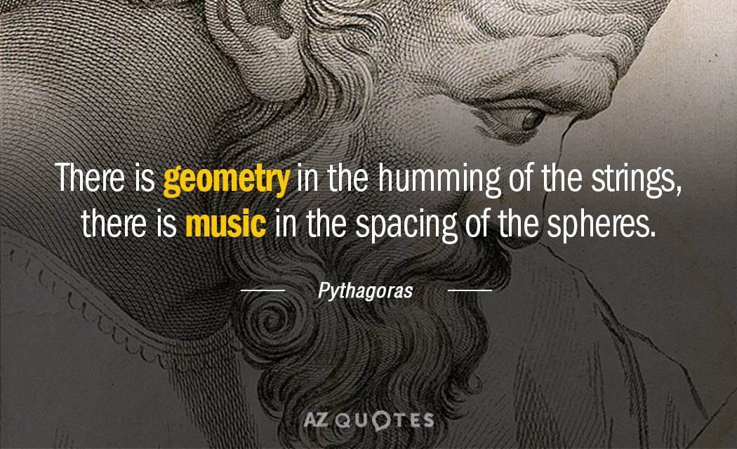 Pythagoras quote: There is geometry in the humming of the strings, there is music in the...