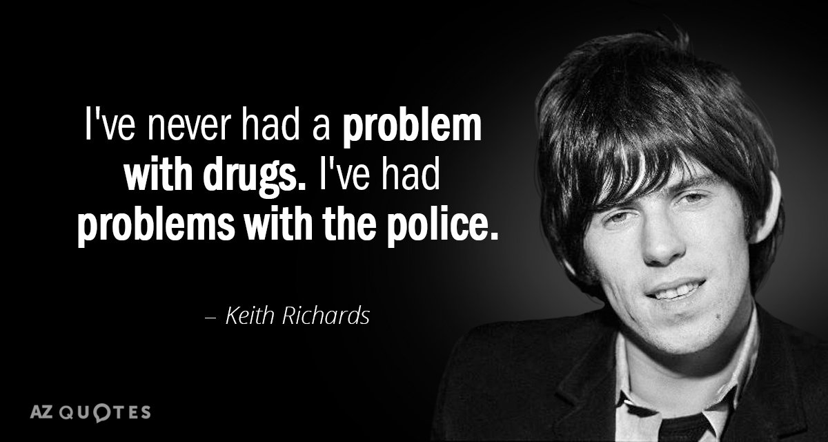 Keith Richards quote: I've never had a problem with drugs. I've had problems with the police.