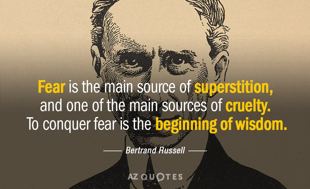 Bertrand Russell quote: Fear is the main source of superstition, and one of the main sources...