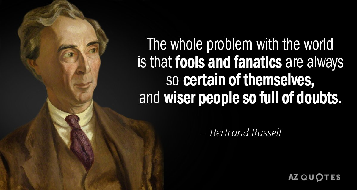 Bertrand Russell quote: The whole problem with the world is that fools and fanatics are always...