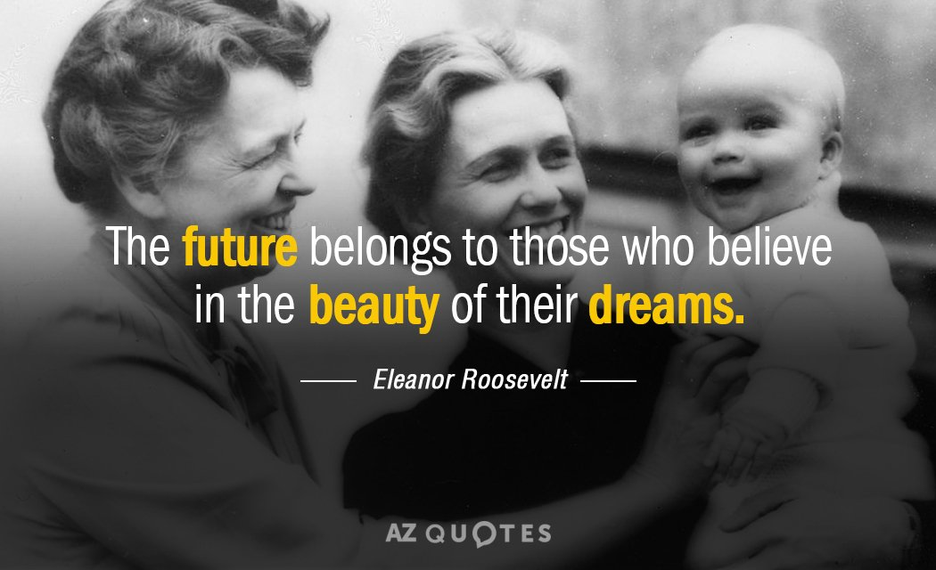 Eleanor Roosevelt quote: The future belongs to those who believe in the beauty of their dreams.