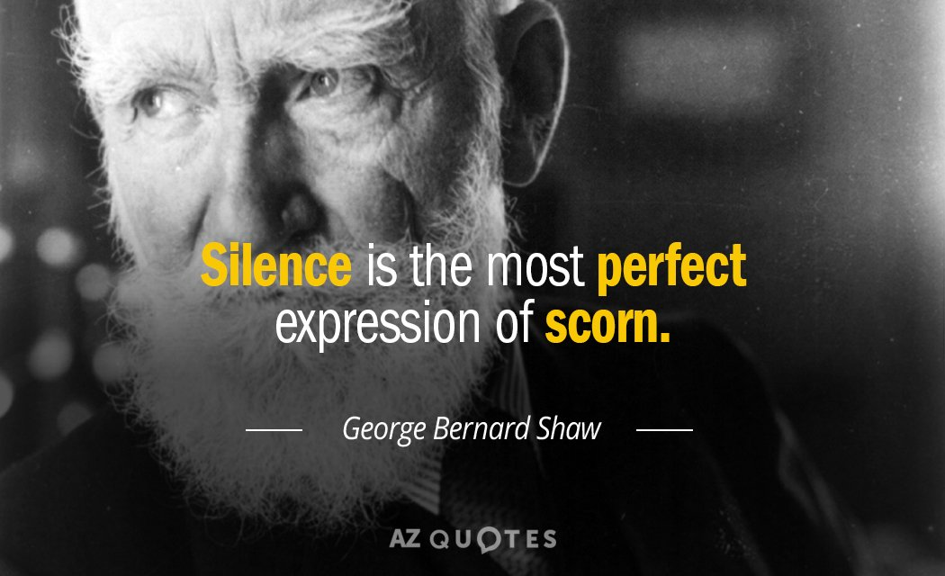 George Bernard Shaw quote: Silence is the most perfect expression of scorn.