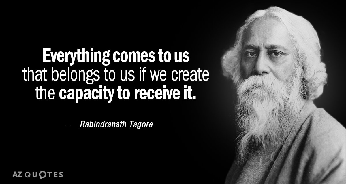Rabindranath Tagore quote: Everything comes to us that belongs to us if we create the capacity...