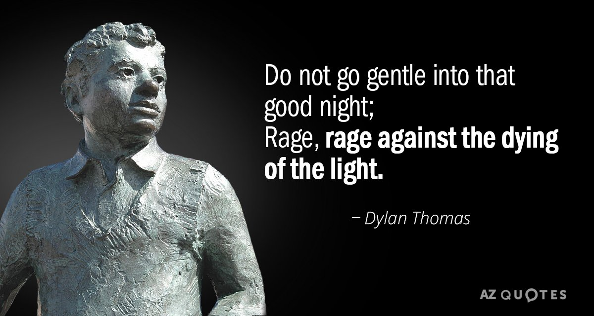do not go gentle into that goodnight Do not go gentle into that good night is a villanelle considered to be among the finest works by welsh poet dylan thomas.