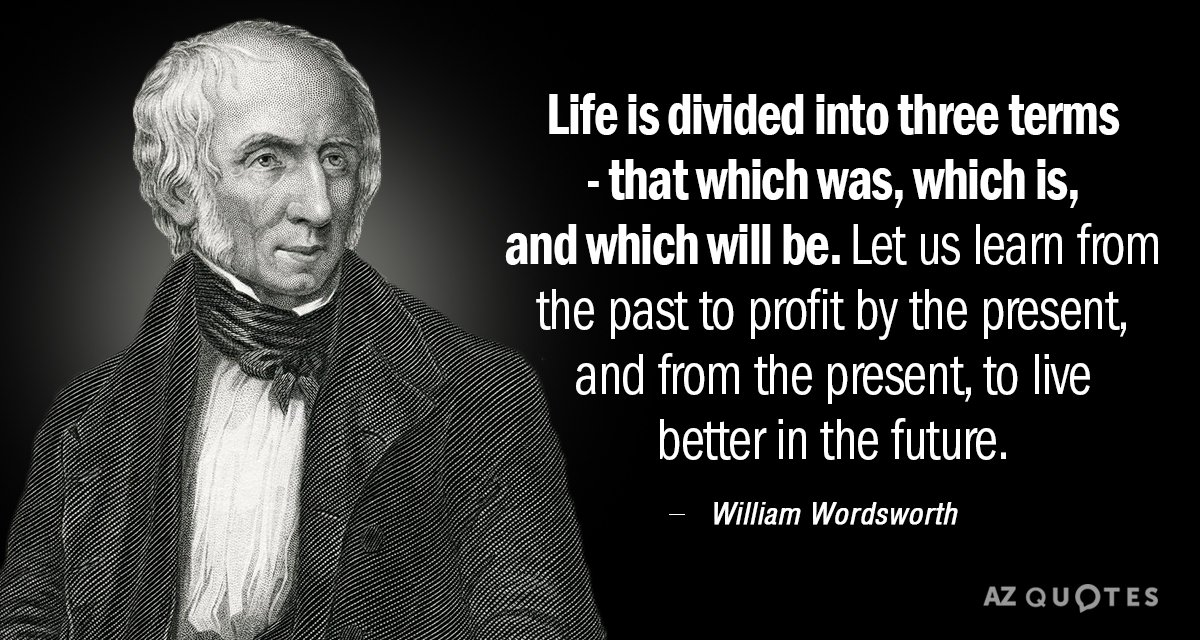 William Wordsworth quote: Life is divided into three terms - that which was, which is, and...