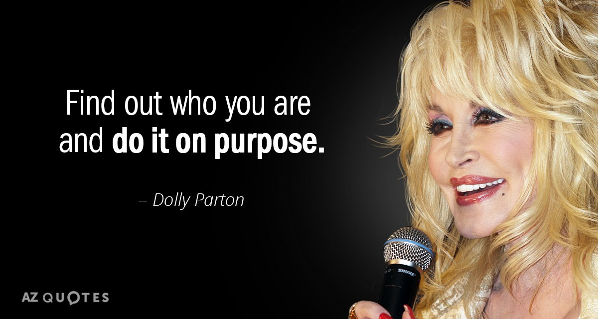 Dolly Parton quote: Find out who you are and do it on purpose.