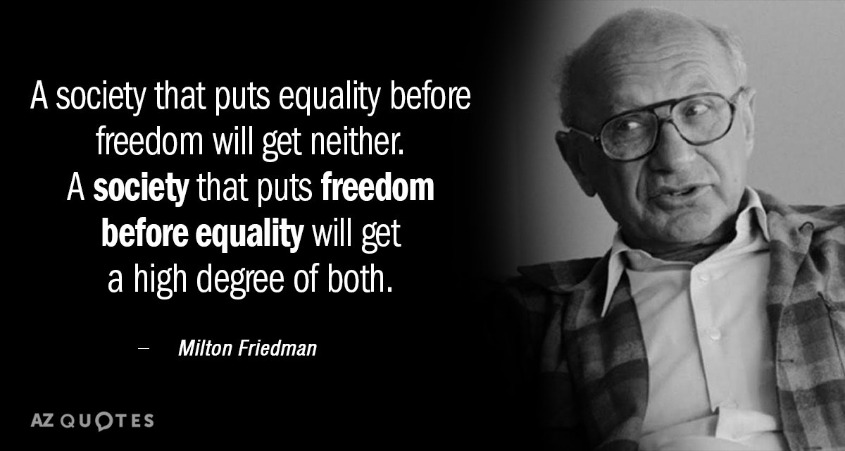 Milton Friedman quote: A society that puts equality before freedom will get neither. A society that...