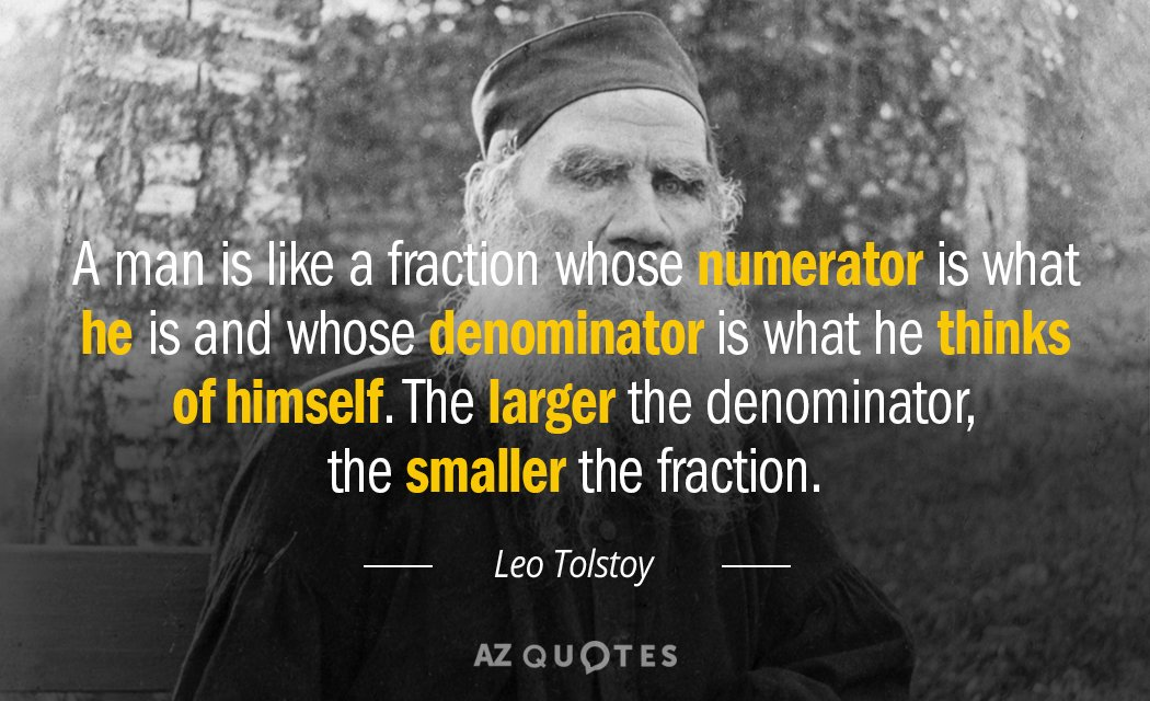 Leo Tolstoy quote: A man is like a fraction whose numerator is what he is and...