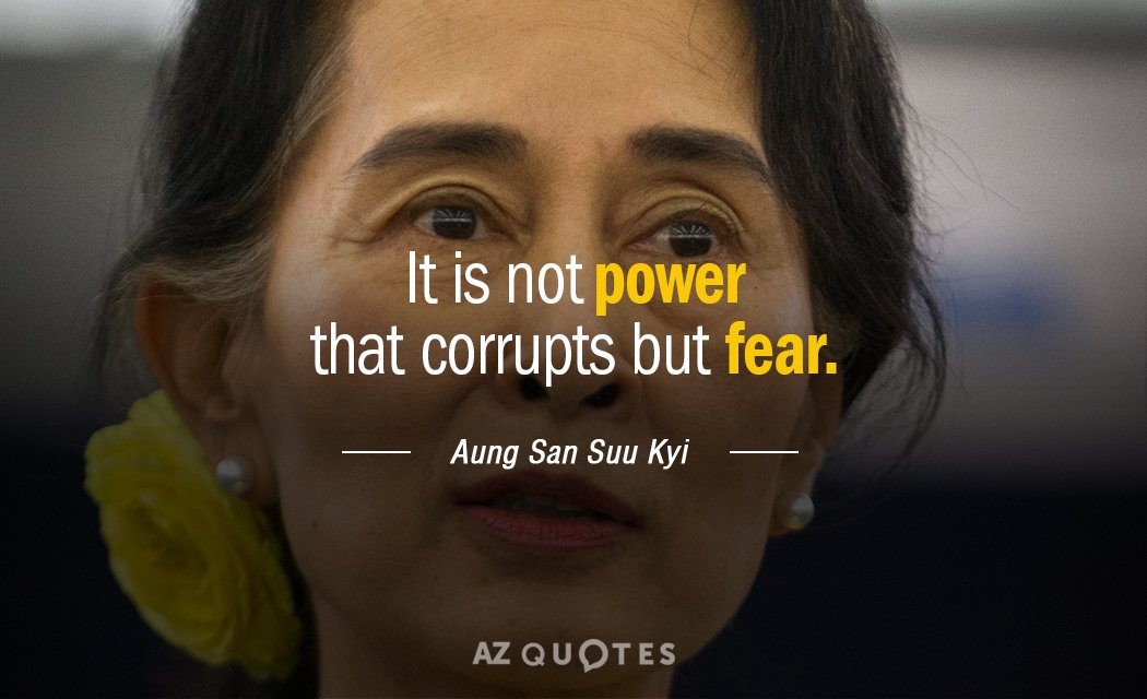 Aung San Suu Kyi quote: It is not power that corrupts but fear.