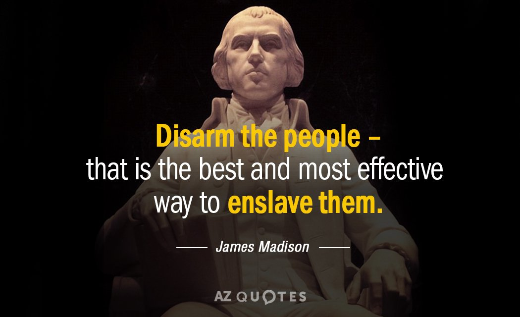 James Madison quote: Disarm the people- that is the best and most effective way to enslave...