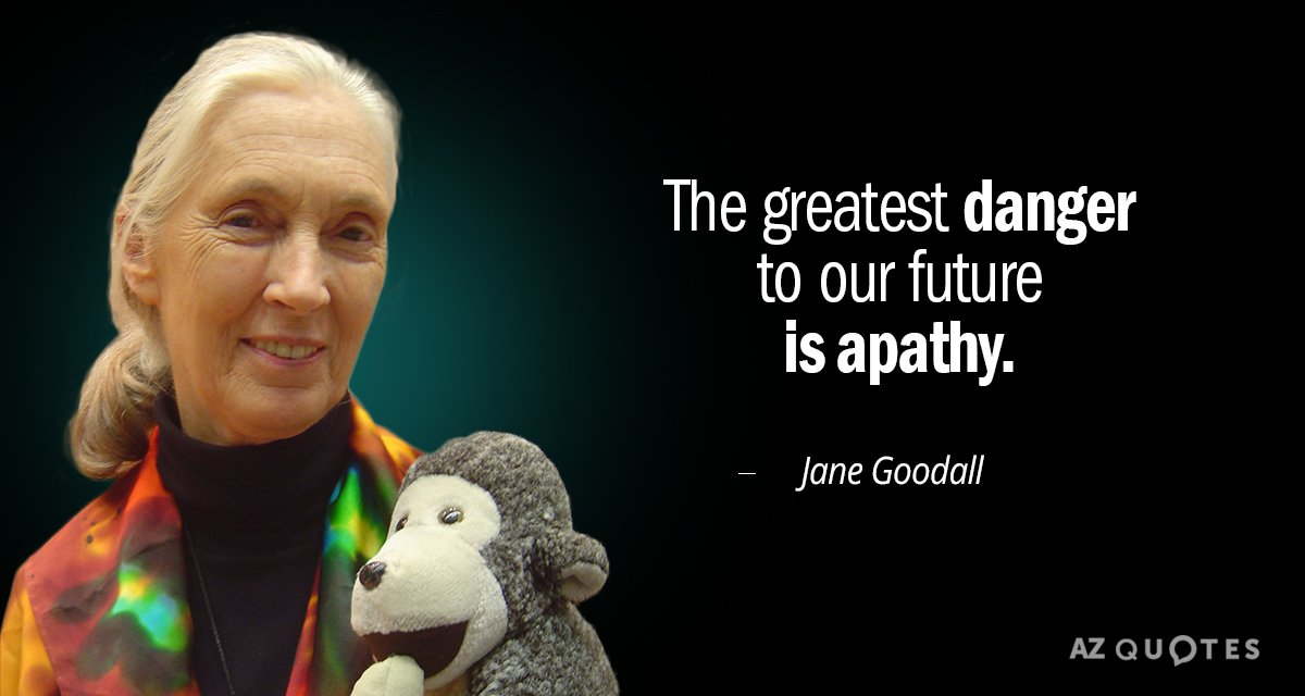 Jane Goodall quote: The greatest danger to our future is apathy.