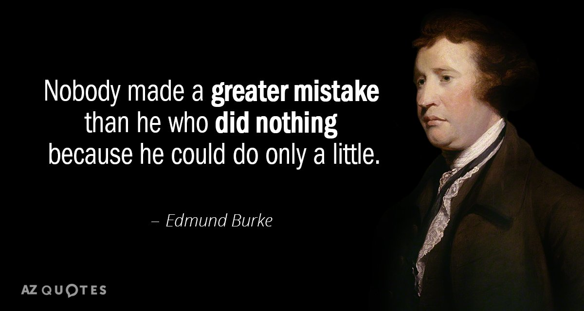 Edmund Burke quote: Nobody made a greater mistake than he who did nothing because he could...