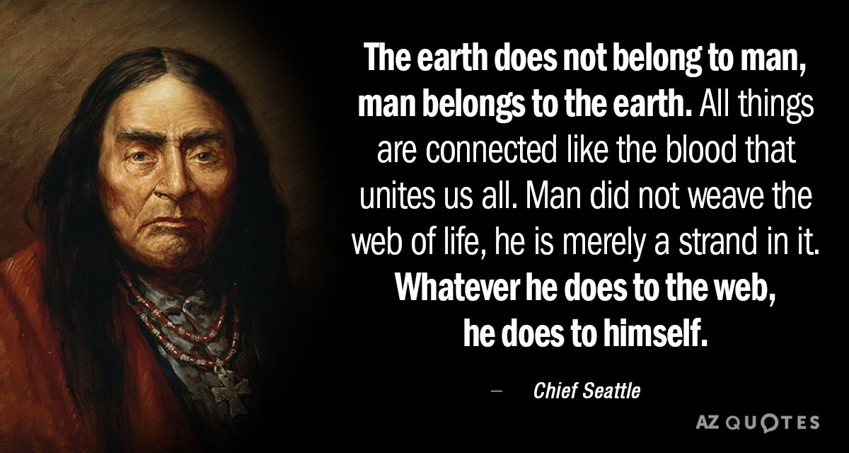 Chief Seattle quote: The earth does not belong to man, man belongs to the earth. All...