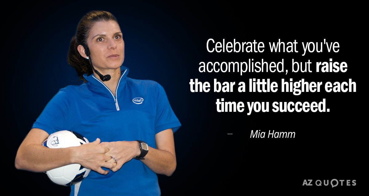 Mia Hamm quote: Celebrate what you've accomplished, but raise the bar a little higher each time...