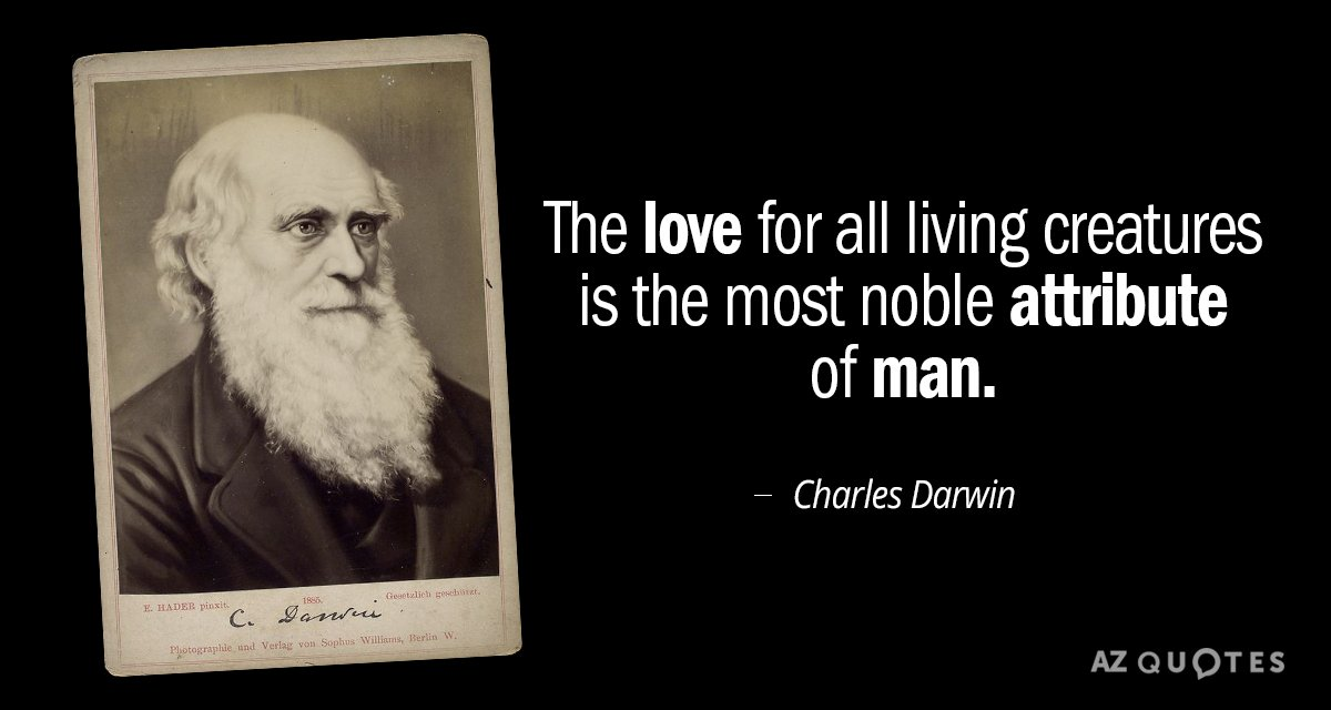 Charles Darwin quote: The love for all living creatures is the most noble attribute of man.
