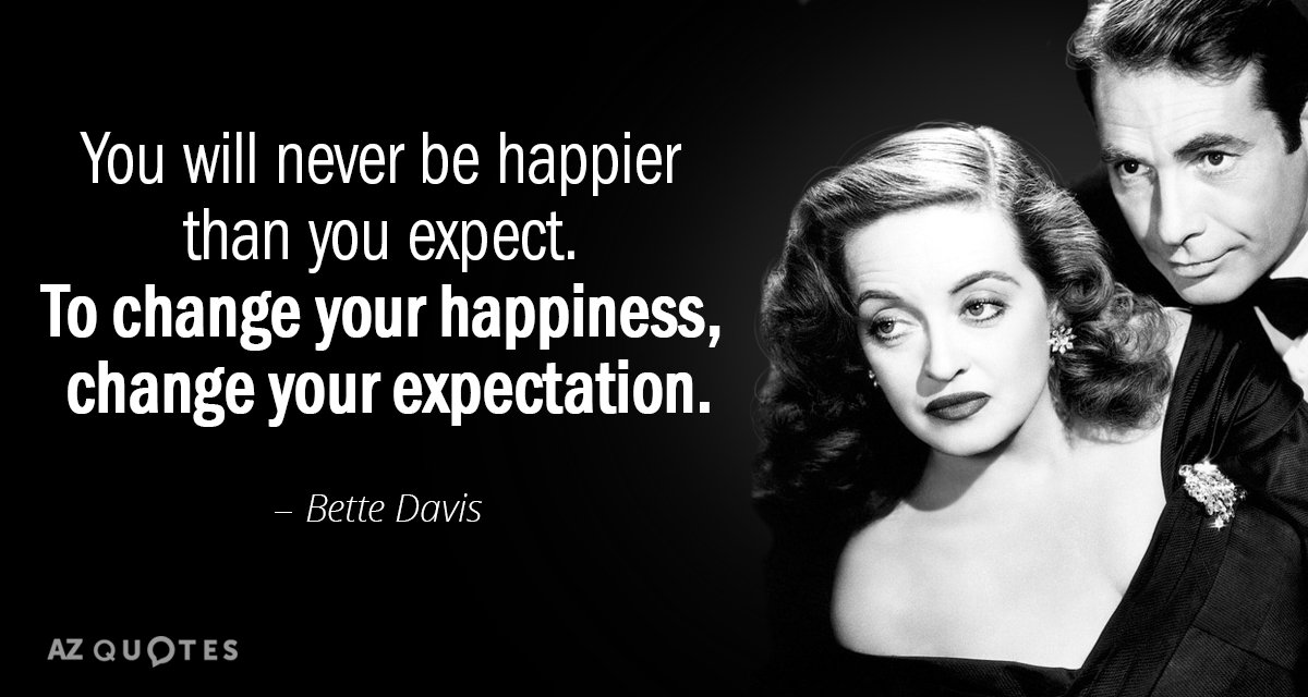 Bette Davis quote: You will never be happier than you expect. To change your happiness, change...