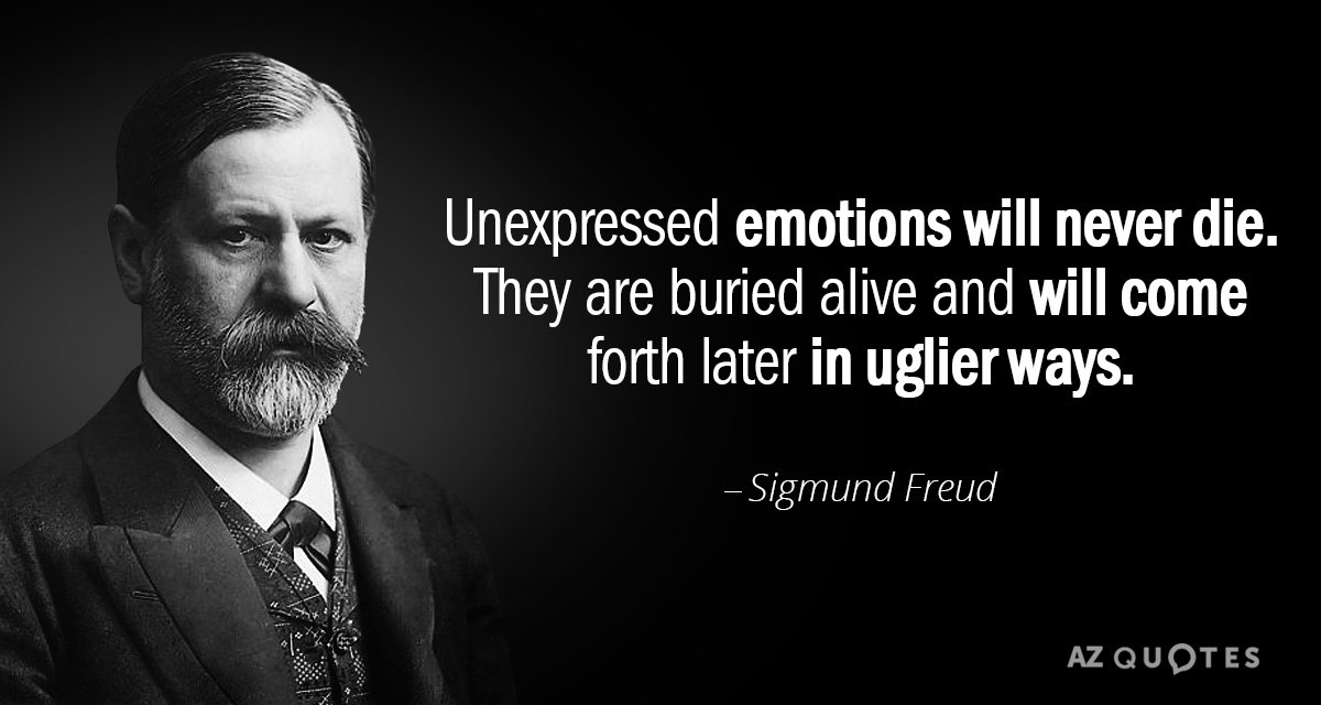 Sigmund Freud quote: Unexpressed emotions will never die. They are buried alive and will come forth...