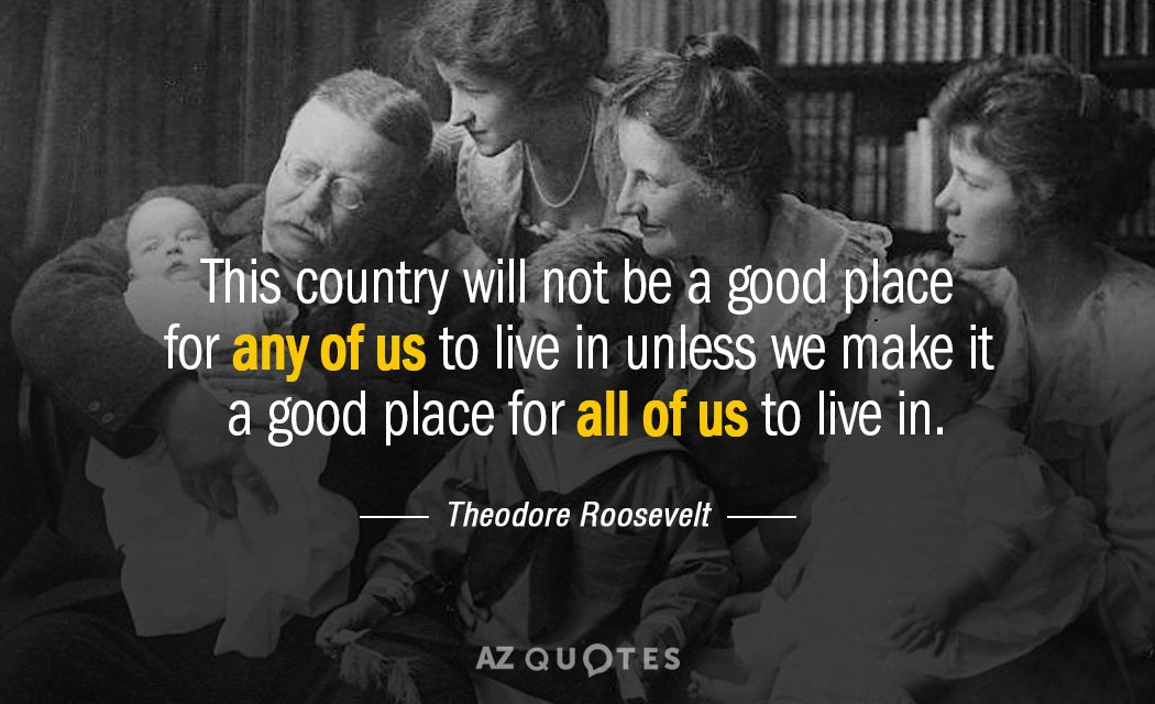 Theodore Roosevelt quote: This country will not be a good place for any of us to...